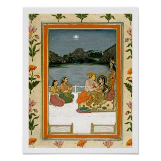 Lovers on a terrace by a moonlit lake, from the Sm Poster