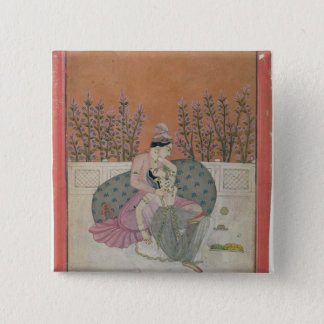 Lovers on a Terrace, Pahari 15 Cm Square Badge