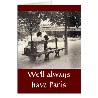 LOVERS ON PARK BENCH IN PARIS VALENTINE GREETING CARDS
