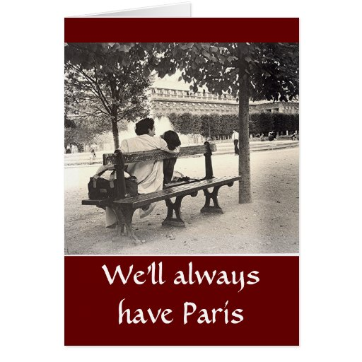 """""""LOVERS ON PARK BENCH IN PARIS"""" VALENTINE GREETING CARDS"""