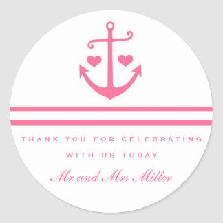 Lovers Pink Nautical Anchor Wedding Favor Stickers