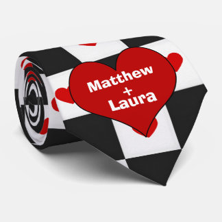 Lovers Red Heart with Checkerboard Tie