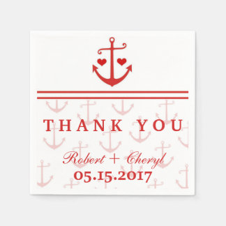 Lovers Red Nautical Anchor Wedding Napkins Disposable Napkin