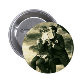 Lovers Secrets Sexy Vintage Pin-Up Couple Love 6 Cm Round Badge