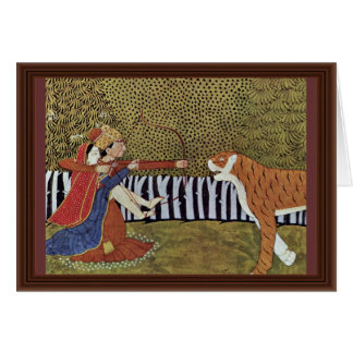 Lovers Shoot At A Tiger In The Jungle. Illustratio Card