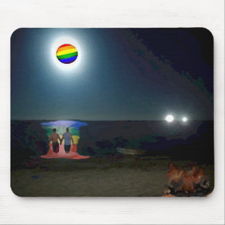 Lovers Under the Gay Pride Moon Mouse Mat