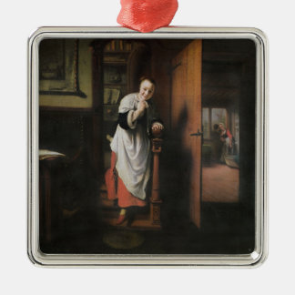 Lovers with a Woman Listening Christmas Ornament