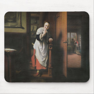Lovers with a Woman Listening Mouse Mat