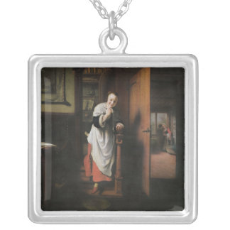 Lovers with a Woman Listening Silver Plated Necklace
