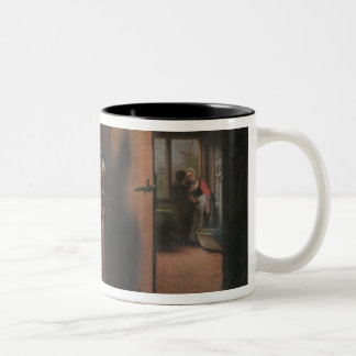 Lovers with a Woman Listening Two-Tone Coffee Mug