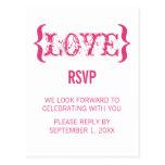 Love's Embrace RSVP Postcard, Dark Pink