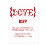 Love's Embrace RSVP Postcard, Red