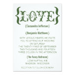 Love's Embrace Wedding Invitation, Dark Green 13 Cm X 18 Cm Invitation Card