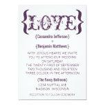 Love's Embrace Wedding Invitation, Eggplant 13 Cm X 18 Cm Invitation Card