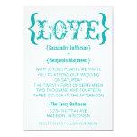 Love's Embrace Wedding Invitation, Teal 13 Cm X 18 Cm Invitation Card