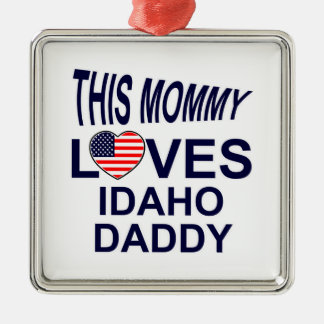 loves Idaho daddy Silver-Colored Square Decoration
