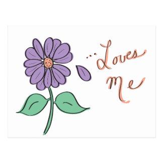 Loves Me Flower Petal Postcard