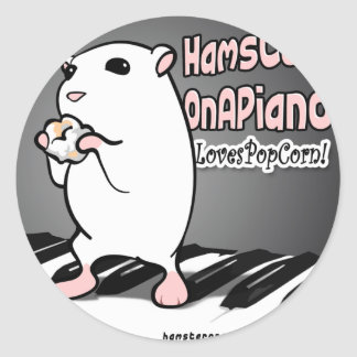 Loves Popcorn! Classic Round Sticker