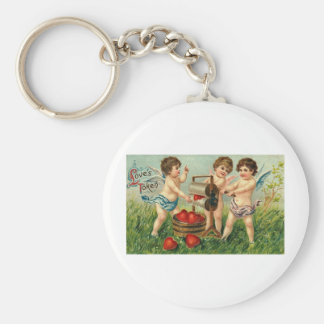Love's Token Cupid Washing Hearts Basic Round Button Key Ring