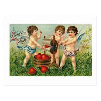 Love's Token Cupid Washing Hearts Postcard