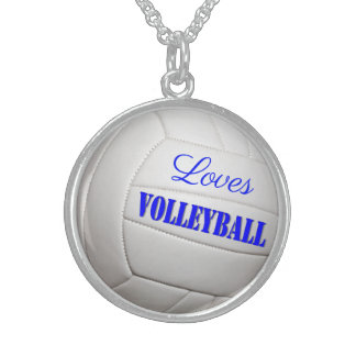 Loves Volleyball Sterling Silver Necklace