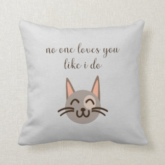 """""""Loves You Like You Do"""" Cat Face Pillow Cushion"""