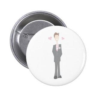 Lovestruck Cartoon Groom 6 Cm Round Badge