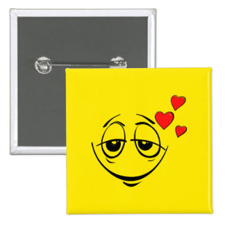 Lovestruck Yellow Smiley Face 15 Cm Square Badge