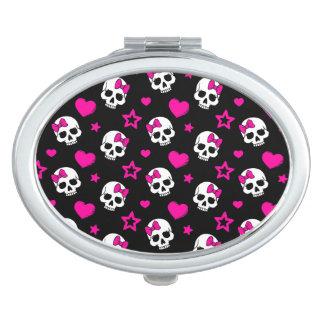 Lovey Goth Skulls in Bright Pink Travel Mirror