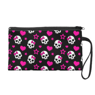 Lovey Goth Skulls in Bright Pink Wristlets