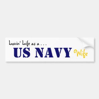 Lovin' Life NAVY stencil Bumper Sticker