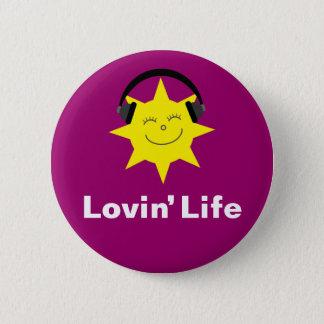 Lovin' Life sun & headphones badge / button