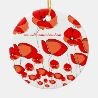 Loving and Unique Red Poppy Flower Ornament