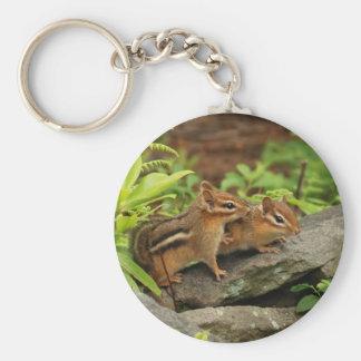 Loving Baby Chipmunk Siblings Keychain