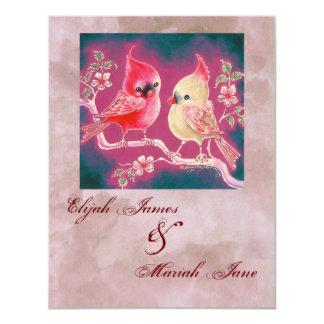 Loving Cardinal Pair For Wedding 11 Cm X 14 Cm Invitation Card