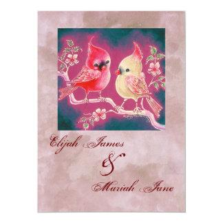Loving Cardinal Pair For Wedding 14 Cm X 19 Cm Invitation Card