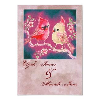 Loving Cardinal Pair For Wedding 4.5x6.25 Paper Invitation Card