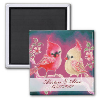 Loving Cardinal Pair Save The Date Refrigerator Magnet