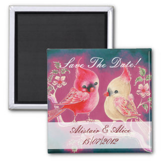 Loving Cardinal Pair Save The Date Square Magnet