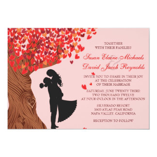 Loving Couple Initials Oak Tree Fall Wedding 13 Cm X 18 Cm Invitation Card