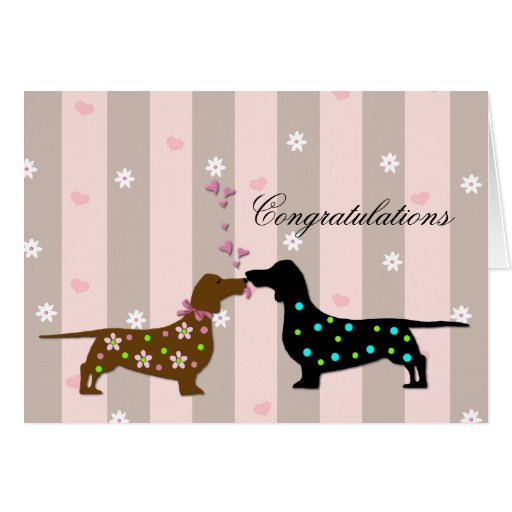 Loving Dachshunds Wedding Congratulations Greeting Card