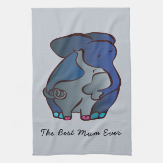 Loving Elephants 4 The best Mum by CraftiesPot Tea Towel