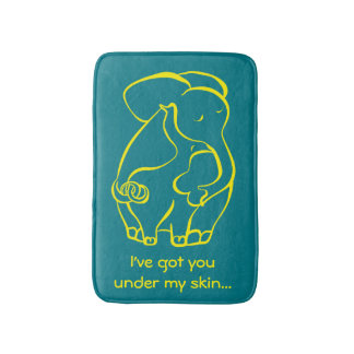 Loving ELEPHANTS Turquoise Green FUNNY Bath Mat