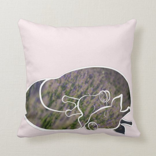 Loving Giraffes & Lavender, romantic, pink cusion Cushion