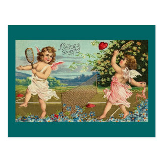 Loving Greetings Badminton Valentine Cherubs Postcard