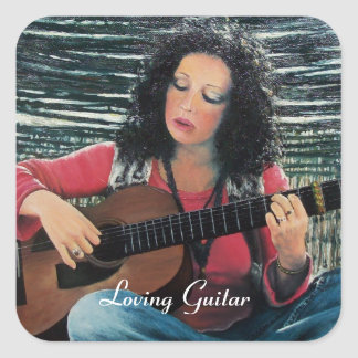 LOVING GUITAR, Country Blues Folk  Pop Music Square Stickers