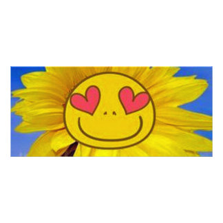 Loving,happy,sunflower,colorful,flower,animated Personalized Rack Card