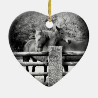 Loving Horses Share Love and Hugs Ceramic Heart Decoration