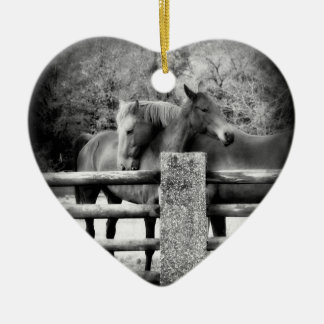 Loving Horses Share Love and Hugs Christmas Ornament