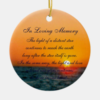 Loving Memory Pastel Ocean Sunset Death Memorial Round Ceramic Decoration